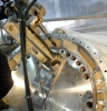 Steam turbine crossover hood flange hole repairs portable on site boring