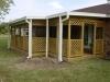 Aluminum patio cover with lattice walls