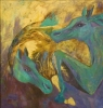 Guererros del sol  30 x 40 oil on canvas by nancy angulo telles
