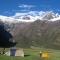 Our trekking group tent in jancapampa - alpamayo circuit trek 13 days cordillera blanca