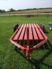 Our donahue lay flat implement trailer in red.