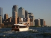 Yacht manhattan heading out to new york harbor