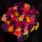Mini calla lily, purple sweetpea and rose bridal bouquet
