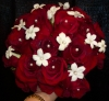 Red rose and stephanotis bridal bouquet
