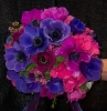 Purple anenomie and pink hydrengia bridal bouquet