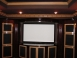 Custom Home Theater with Bookshelf Speakers in Cabinetry