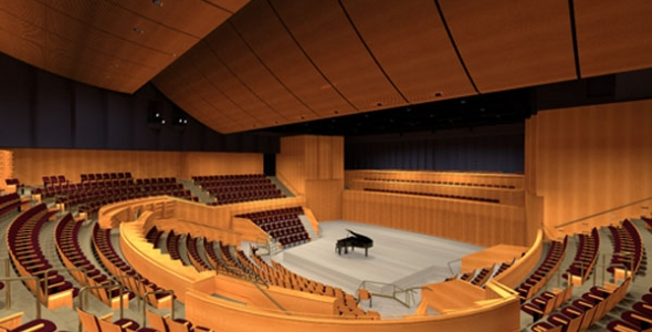 Interior of the 1000-seat Soka Performing Arts Center.  Acoustic design by Yasuhisa Toyota, who also designed the acoustics in Walt Disney Hall.