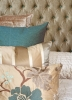 Custom headboard with accent pillows