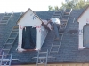 Hook ladders used to minimize roof damage on slate roofs.